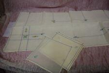 Tovaglia e 5 tovaglioli cotone ecrù 81x78,5 18x17 B7 Tablecloth, Nappe napkins ^