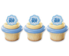 ITS A BOY CUPCAKE RINGS TOPPERS CAKE DECORATIONS PARTY FAVORS 24 PC SET
