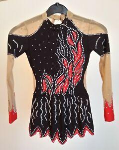 Rhythmic Gymnastic Competition Leotard Long Sleeve Sparkling Shinning Red Black