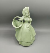 Vintage Haeger Art Pottery Green Matte Glaze Woman Holding Basket Planter