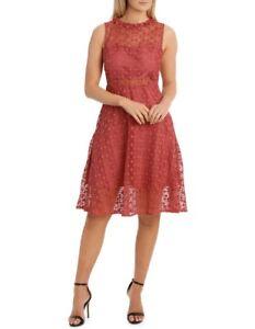 Jayson Brunsdon Black Label Amber High Neck Fit & Flare Lace Dress Size 10- BNWT