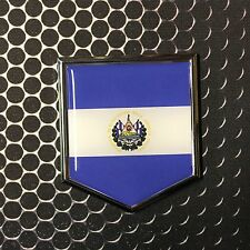 """El Salvador Flag Domed CHROME Emblem Proud Flag Car 3D Sticker 2""""x 2.25"""" Mestizo"""