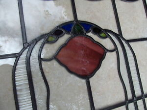 Large UNIQUE Fully restored VINTAGE STAINED GLASS WINDOW PANEL 635mm by 1080mm