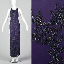 8b63f6da80d XS 1990s Beaded Evening Dress Vintage Purple Long Side Slit Sleeveless Zip  Back