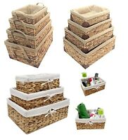 Natural Woven Water Hyacinth Deep Rectangle Storage Basket Hamper With Lining