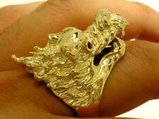 MR038 HUGE Genuine 9ct Gold Real Ruby Eye Zodiac DRAGON Ring Mens size U Biker
