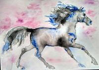 Black stallion,Horse Art original watercolor painting signed,equestrian, equine