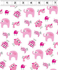 BRO.THER SIS.TER Pink Animals Quilt Fabric by 1/2 Yard 2145-43 Clothworks