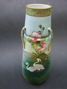 Antique Japanese  Porcelain Vase w/ Handles h/Painted w Stork Birds 1920's VGC