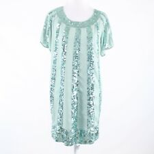 Light green sequin striped PAUL & JOE short sleeve shift dress IT38 4 NWT $290