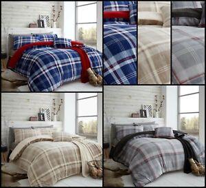 New Teddy Bear Lincoln Check Fleece Warm Duvet Quilt Cover Single Double King