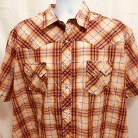 Wrangler Western Fashion Pearl Snap Mens Short Sleeve Shirt Sz 2XL XXL