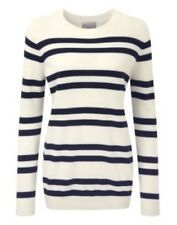 Pure Collection Cashmere Boyfriend Maglione Blu Navy A Righe Taglia UK 14 Box4666 C