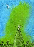 21013106 e9Art ACEO Cat Outsider Folk Art Brut Painting Contemporary Naive OOAK