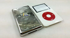 white faceplate metal back case housing red clickwheel for ipod 5th video 60gb