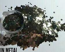 Nail glitter 5g GUN METAL MULTICUT for Acrylic or gel CUSTOM mixed