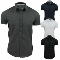 Mens Brave Soul Short Sleeve Cotton Seam and Dart Detailed Shirt Size S M L XL