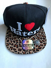 I Love Haters Leopard Snapback Cap Baseball Hat NEW with Tag NWT Heart