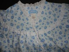 NOS!  Womens Vintage LANZ OF SALZBURG Blue Floral Long Flannel Nightgown  MEDIUM