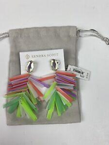 Kendra Scott $175 Dichroic Pastel Mix Fringe Jasper Earrings NEW Gold