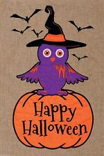 Happy Halloween OWL Applique Embroidered 2 Sided Burlap Custom Decor Garden Flag