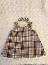 624237fee Handmade Spanish Style Baby Girls Beige Tartan Baby Dress With Bow Headband  Gift