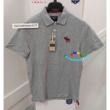ABERCROMBIE & FITCH MENS EXPLODED ICON POLO SHIRTS GREY SIZE LARGE