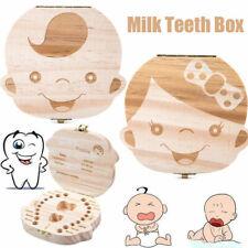 Tooth Box organizer for baby Save Milk teeth Wood storage box for kids Boys Girl
