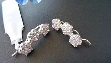 STUNNING GENUINE 925 SOLID STERLING SILVER ZIRCONIA CLIP EARRINGS MADE IN ITALY
