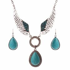 New Women Blue Teardrop Necklace Turquoise Pendant Crystal Wings Earring Set