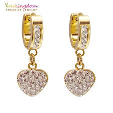 Ear Jewelry Clear Round Cubic Zircon Gold Plated Lady Link Heart Drop Earrings
