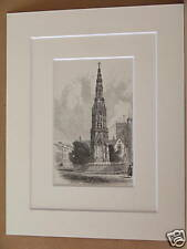 MARTYRS MEMORIAL OXFORD ANTIQUE MOUNTED ENGRAVING c1890