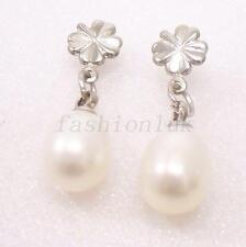 fashion1uk White Freshwater Pearl Cute Drop Earrings