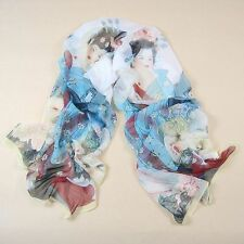 New Arrive Chinese costume beauty pattern Print Silk Scarf Yellow side #3136