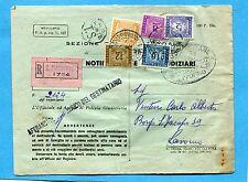 AFFRANCATURA PENTACOLORE - 1953 S.TASSE £.5 + 8 + 10 + 12 + 100  (226458)