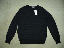 NWT $89 CALVIN KLEIN Men's Striped V-Neck Black Blue Merino Wool Sweater Tops M