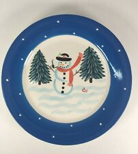 """Le Gourmet Chef 2001 Handpainted Signed """"CH"""" Snowman Plate 8""""  ChristmasWinter"""