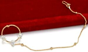 Indian Cubic Zirconia Bridal Nose Ring Nath Nathini Gold Plated Jewelry