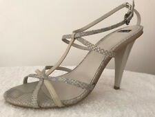BNWOB BERTIE STRAPPY GREY LEATHER HIGH HEELED SANDALS SHOES, SIZE 7