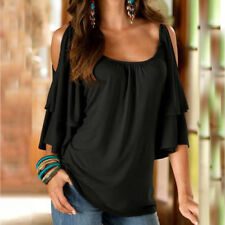 UK Plus Size Womens Blouse Cold Shoulder Ladies Summer T Shirt Loose Casual Tops