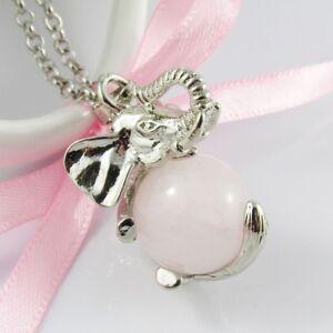 3D Natural Rose Quartz Gemstone Ball Good Luck Elephant Charm Necklace 75cm