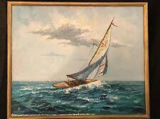 A. Simpson Oil / Acrylic Framed Canvas Painting Sailboat Ocean Decor Beach Sea