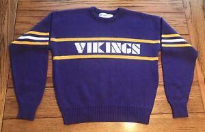 Vintage Minnesota Vikings Mens Pullover Sweater Large Orion Wool NFL Cliff Eagle