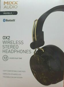 MIXX Audio OX2 Bluetooth Wireless Wired FOLDABLE Headphones MARBLE B/TOOTH 12 HR
