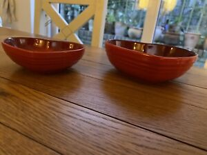 A Pair Of Le Creuset Cerise Heart Shaped Dishes - Very Rare