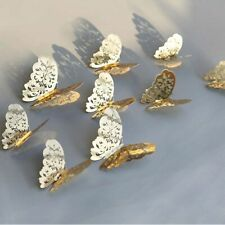 12Pcs/lot 3D Hollow Golden Silver Butterfly Wall Stickers Art Home Decorations