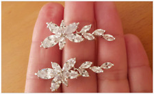 Sparkling Silver Marquise Cluster Crystal CZ Dangle Drop Earring Wedding/Party