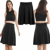 Women's Ladies Knee Length Flared Jersey Swing Midi Skater Skirt Size UK 8-26