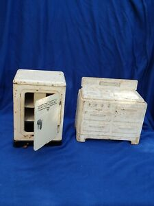 Vintage Steel or Tin Marx North Wind Refrigerator and Stove 1930s Dollhouse
