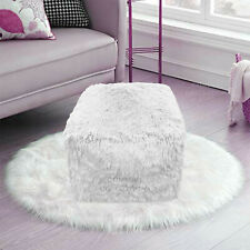Teddy Foot Rest Stool Cuddles Chunky Chair Cube Footstool Pouf Bean Bag White